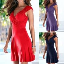 Sexy Deep V-neck Sleeveless Solid Color Dress