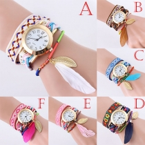 Ethnic Style Colorful Braided Watchband Feather Pendant Round Dial Quartz Watch