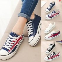 Fashion Printed Lace-up Canvas Shoes For Women