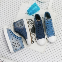 Fashion Lace-up Rivet High Tops Denim Canvas Shoes For Women