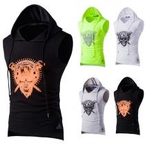 Sports Style Skull Printed Hooded Sleeveless Men's Vest