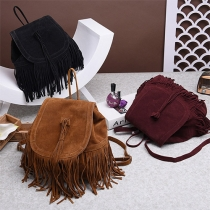 Sweet Style Solid Color Tassel Backpack For Women