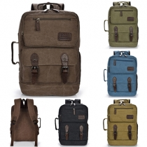 Fashion Style Solid Color Hasp Zipper Canvas Backpack