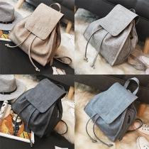 Trendy Solid Color Adjustable Straps Drawstring PU Backpack For Women