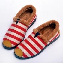 Fashion Striped Printed Anti-slip Round Toe Women's Warm Flat Shoes