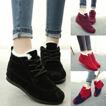 Casual Style Solid Color/Contrast Color Front Lace-up Warm Cotton Shoes