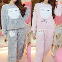 Cute Owl Pattern Long Sleeve Round Neck Warm Sleepwear Set