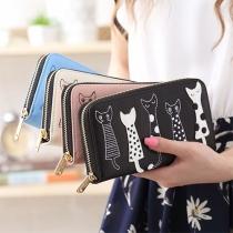 Fashion Lovely Cat Zipper PU Long Wallet For Women