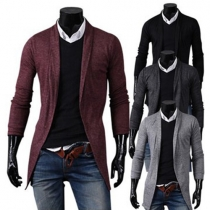 Fashion Casual All-match Solid Color Long Sleeve Men's Knit Cardigan