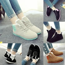 Fashion Contrast Color Flat Heel Lace Up Casual Shoes