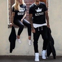 Fashion Crown Letters Printed Short Sleeve Round Neck Couple T-shirt