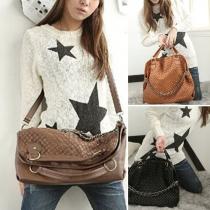 Fashion Solid Color Chain Braid Tote Shoulder Bag