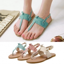 Bohemian Style Flat Heel Round Toe Thong Sandals