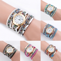 Fashion Rivets Printed Watchband Round Dial Bracelet Watch