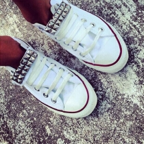 Punk Style Round Toe Lace-up Rivets Canvas Shoes