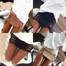 Fashion High Waist Lace-up Hem Solid Color Skirt