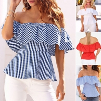 Sexy Off-shoulder Ruffle Boat Neck Blouse