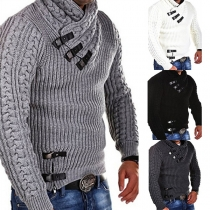 Fashion Solid Color Long Sleeve Men's Sweater