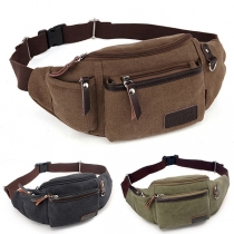 Fashion Solid Color Multifunction Canvas Waist Bag