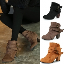 Fashion Pointed Toe Strappy Block Heel Booties