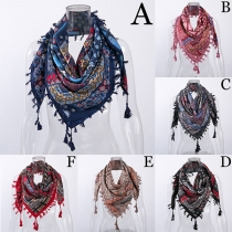 Fashion Tassel Spliced Printed Scarf