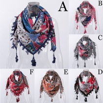 Fashion Printed Tassel Scarf