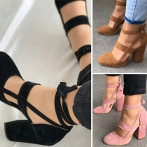 Fashion Solid Color Round Toe Cutout Self-tie Ankle-wrap Thick Heel Shoes