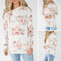 Fresh Style Long Sleeve Printed Casual Hoodie