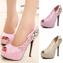 Sexy High-heeled Peep Toe Rhinestone Inlaid Lace Pumps