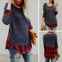 Fashion Plaid Spliced Long Sleeve Round Neck Sweatshirt