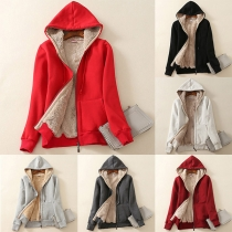 Fashion Solid Color Long Sleeve Plush Lining Hooded Sweatshirt Coat