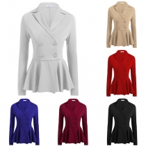 Elegant Solid Color Long Sleeve Double-breasted Blazer