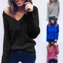 Fashion Solid Color Long Sleeve V-neck Pullover Sweater