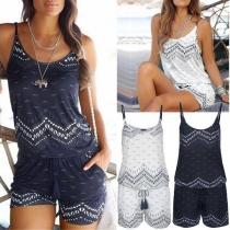 Fashion Wave Print Elasitc Waist Strappy Beach Romper