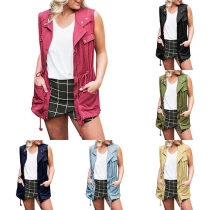 Fashion Solid Color Drawstring Waist Vest