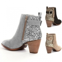 Fashion Thick Heel Round Toe Side-zipper Sequin Spliced Booties