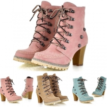 Retro Style Thick High-heeled Lace-up Rivets Martin Boots