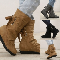 Fashion Flat Heel Round Toe Back Lace-up Booties