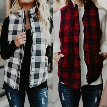 Fashion Stand Collar Zipper Front Plaid Warm Vest
