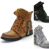 Retro Solid Color Round Toe Rivets Buckle Hollow Out Short Matin Boots