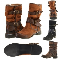 Retro Style Flat Heel Round Toe Buckle Strap Boots