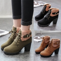 Fashion Thick Heel Round Toe Plush Spliced Lace-up Martin Boots