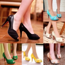 Fashion Contrast Color High-heeled Peep Toe Shoes