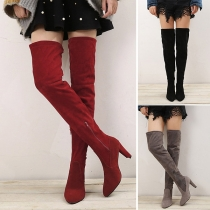 Fashion Thick High-heeled Side-zipper Over-the-knee Boots