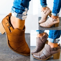Retro Style Thick Heel Pointed Toe Ankle Boots