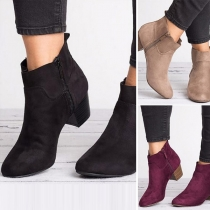 Fashion Solid Color Pointed Toe Side Zipper High-heeled Short Boots