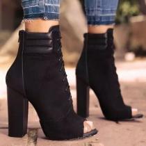 Fashion Thick High-heeled Peep Toe Ankle Boots