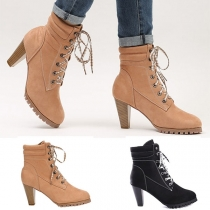 Fashion Thick High-heeled Lace-up Martin Boots Booties
