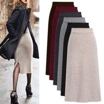 Fashion Solid Color High Waist Slit Hem Skirt