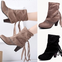 Fashion Thick Heel Round Toe Lace Spliced Tassel Booties